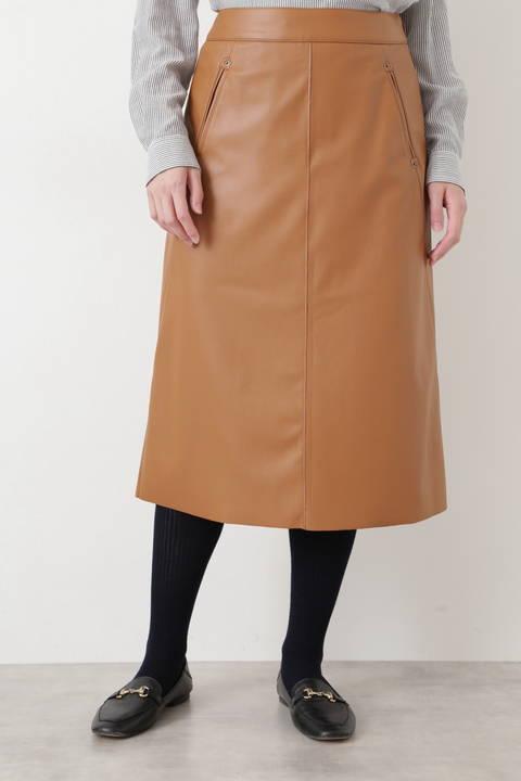 シンラムキッドフェイクレザースカート