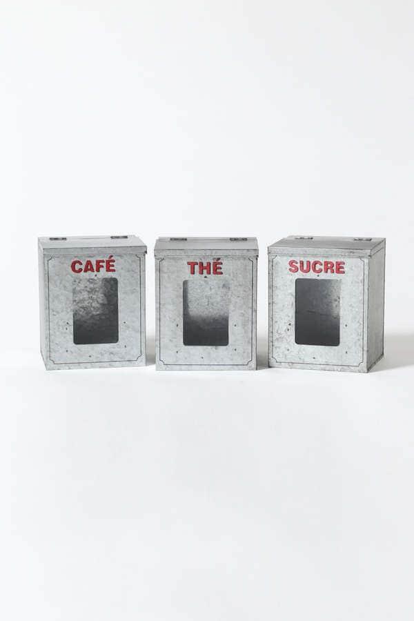 《H/living&play》Set 3 boites zinc Café-Sucre-Thé