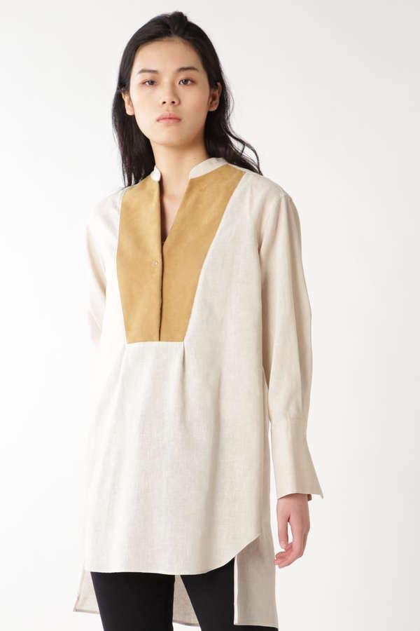 フェイクスウェードコンビシャツドレス