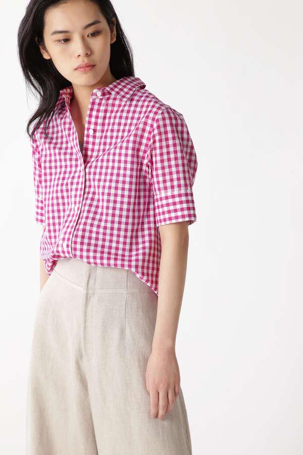 綿/麻シャンブレーハーフスリーブシャツ
