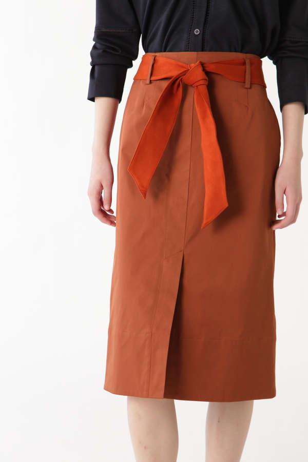 スウェードベルトタイトスカート