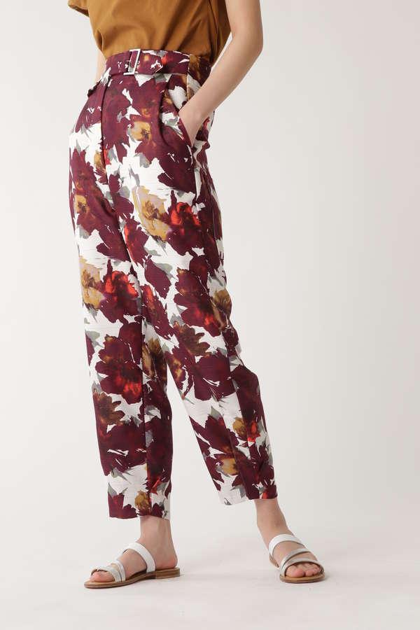 [ELIN]Floral turn-up pants