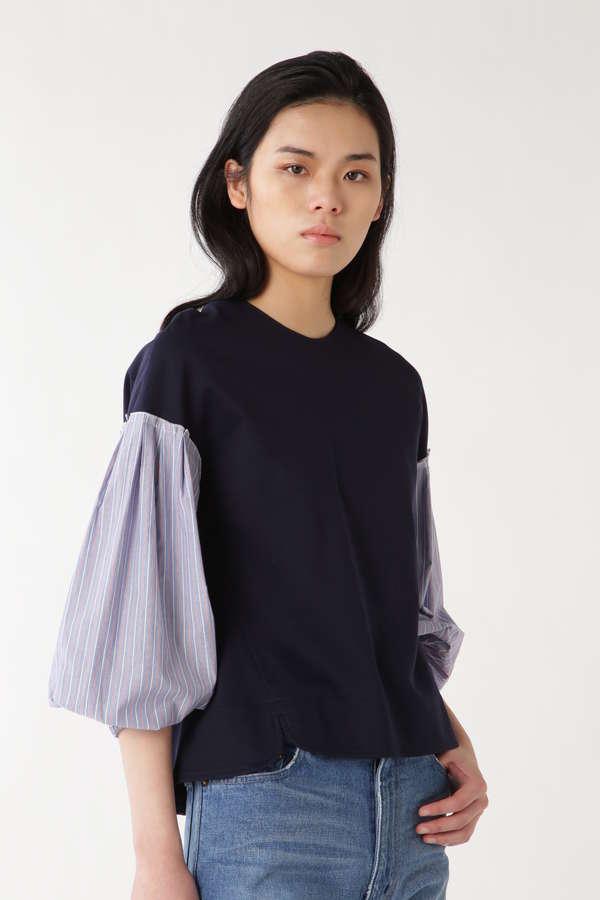 袖布帛コンビポンチプルオーバー