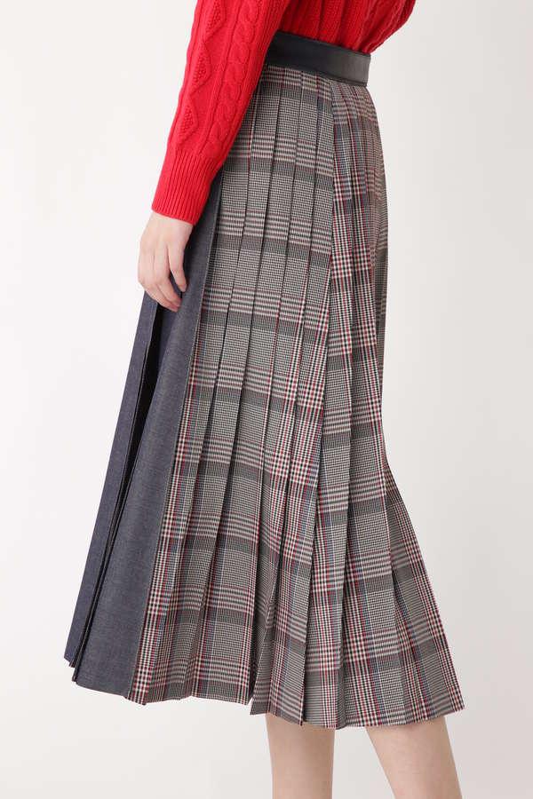 ウールデニムプリーツスカート
