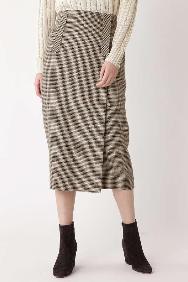 ウールチェックセミタイトスカート