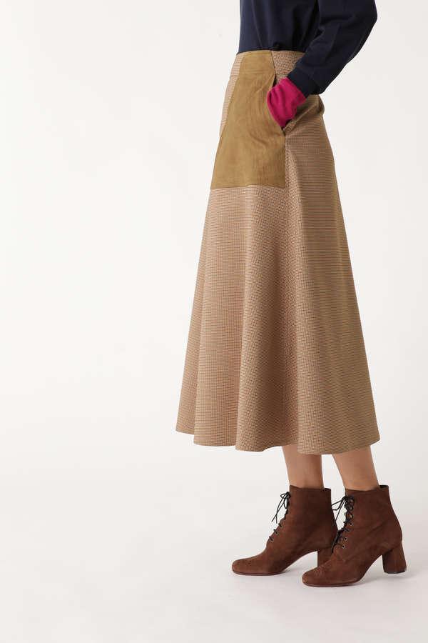 PL/COチェックスエードポケットロングスカート