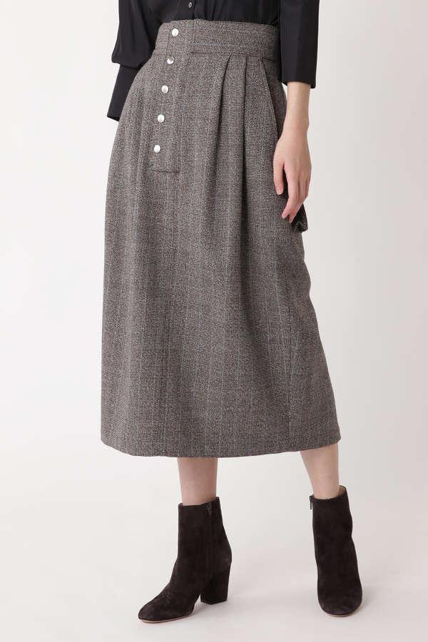 [ELIN]Houndtooth patch pocket skirt