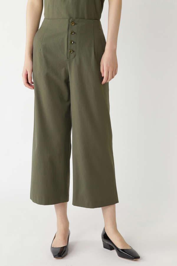 ポリエステル/麻 セミワイドパンツ