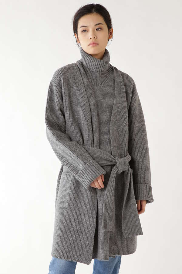 [THE KEIJI]DETACHABLE TURTLE LONG CARDIGAN SOLID