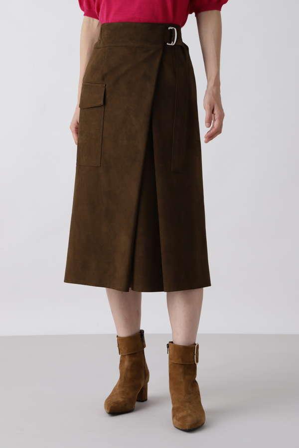 フェイクスウェードフラップポケットスカート