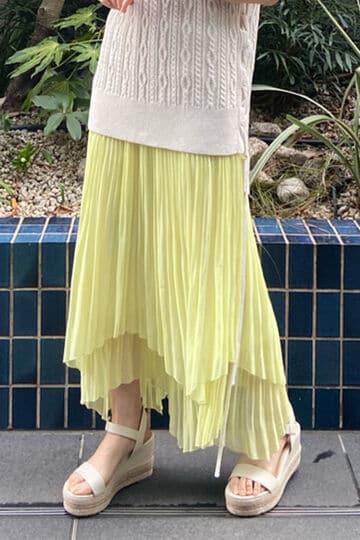 【先行予約 2月下旬-3月上旬入荷予定】ダブルプリーツイレヘムスカート