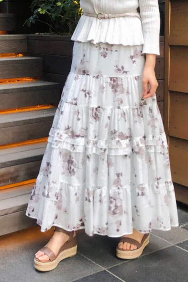 《Endy ROBE》オリビアティアードプリントスカート
