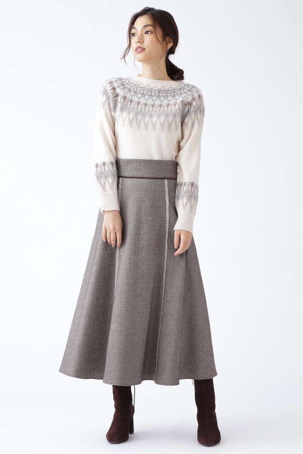 【WEB限定 サイズ:0 展開】ツイードロングスカート