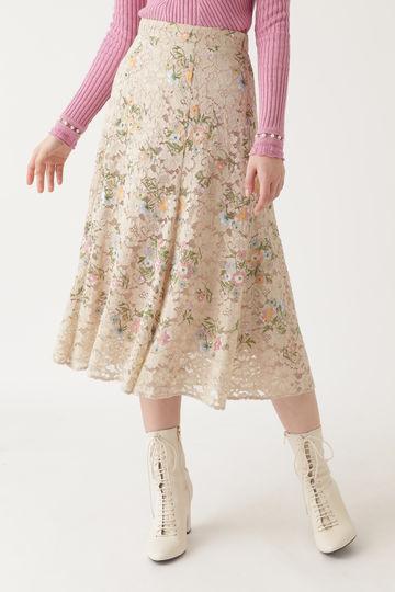 カメル刺繍レーススカート