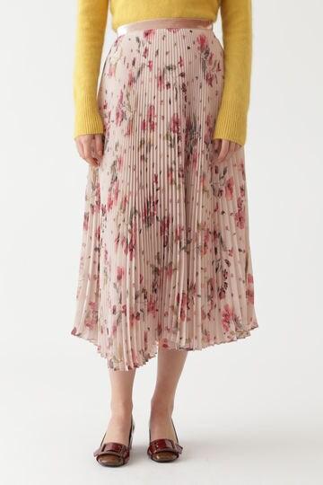 ウォーターカラーフラワープリーツスカート