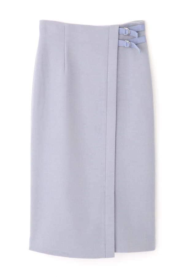サイドベルト付きラップ風タイトスカート