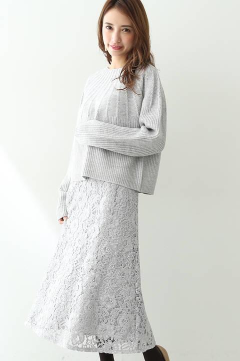 【先行予約1月上旬-1月中旬入荷予定】ミモレレーススカート