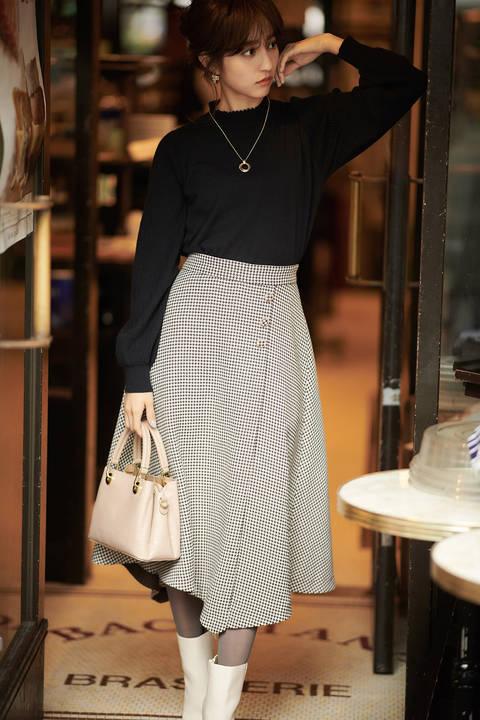 千鳥チェックアシメフレアースカート