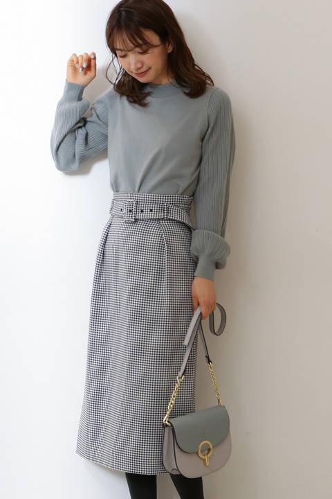 【先行予約12月下旬-1月上旬入荷予定】ベルト付き千鳥チェックロングタイトスカート