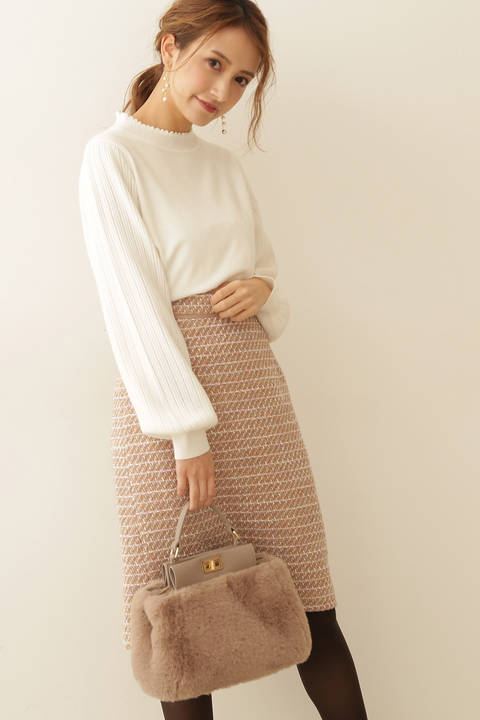 チャームツイードタイトスカート