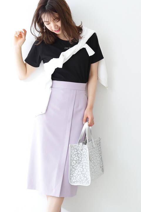 【先行予約1月下旬-2月上旬入荷予定】ベルト付きフロントタックタイトスカート