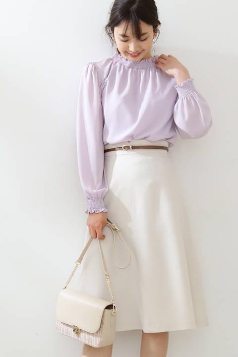 【先行予約3月中旬-下旬入荷予定】ベルト付きフレアスカート