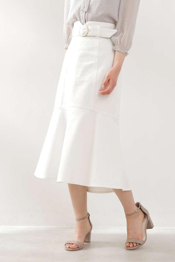 【先行予約5月上旬-5月中旬入荷予定 031ホワイトのみ】マーメイドミモレデニムスカート