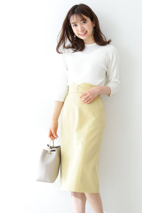 【先行予約5月上旬-中旬入荷予定】メタルボタンロングペンシルスカート