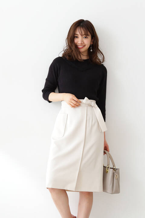 【先行予約5月上旬-中旬入荷予定】サイドリボン巻き風タイトスカート