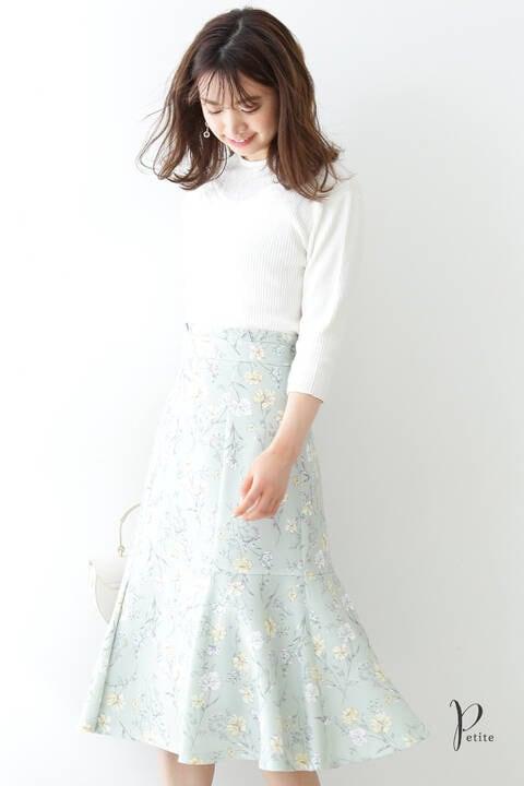 【先行予約5月上旬-中旬入荷予定】フローラボタニカルマーメイドスカート【低身長サイズ展開あり】