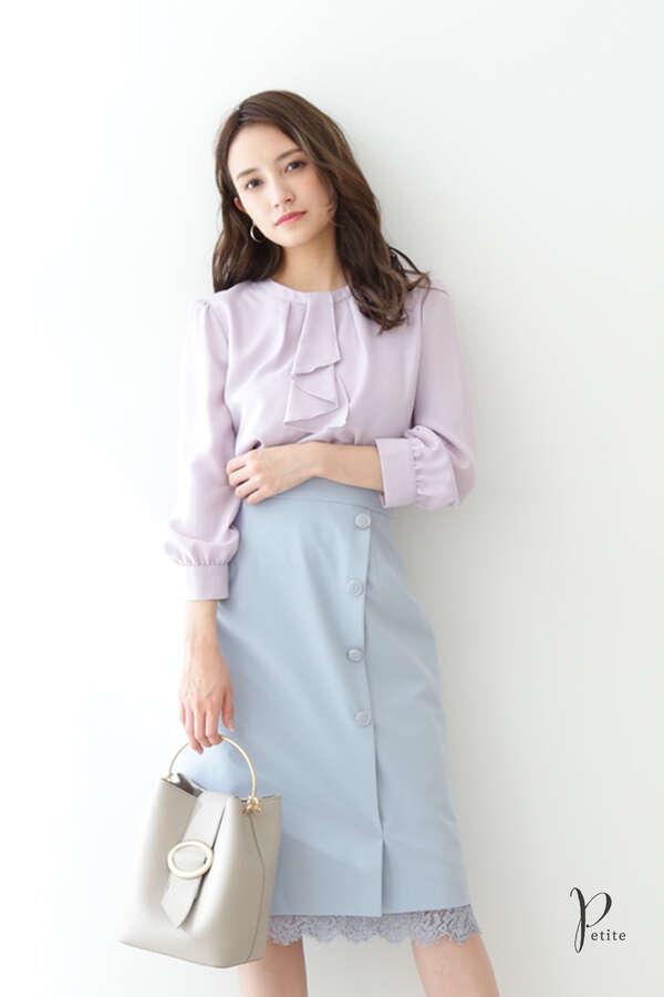 裾レーススリットタイトスカート【低身長サイズ展開あり】