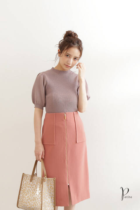 【先行予約4月下旬-5月上旬入荷予定】フロントファスナータイトスカート【低身長サイズ展開あり】