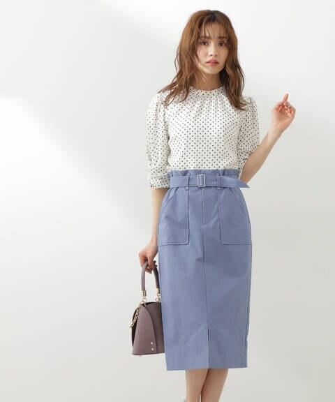 【先行予約5月上旬-5月中旬入荷予定】【ブルー:WEB限定カラー】ビックポケットタイトスカート【低身長サイズ展開あり】
