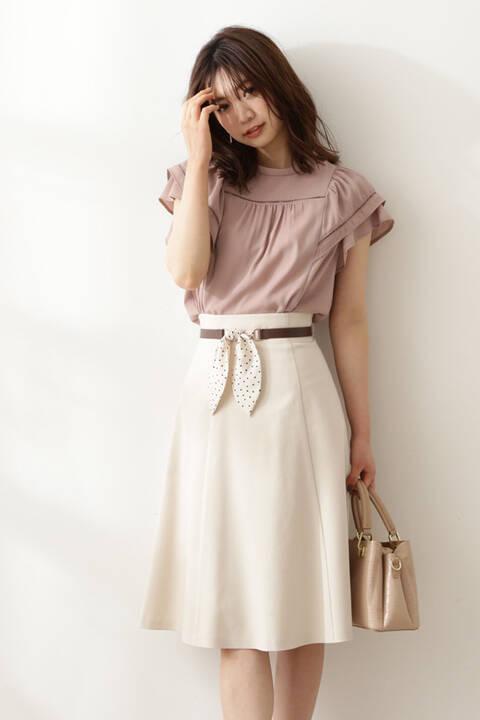 【先行予約5月上旬-中旬入荷予定】スカーフベルト付フレアスカート