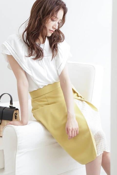 【先行予約5月上旬-中旬入荷予定】ドットサイドプリーツタイトスカート