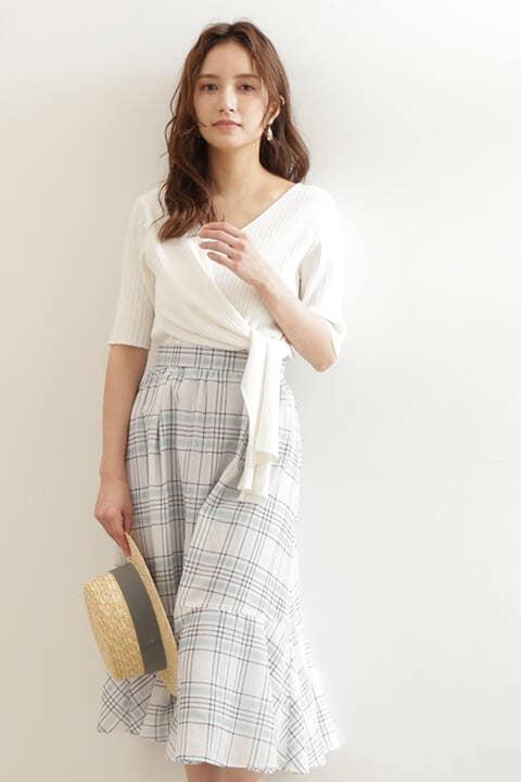 【先行予約_5月上旬-中旬入荷予定】シアーチェックエアリーティアードスカート