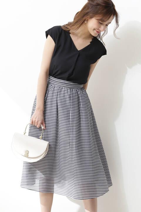 ギャザーフレアーボイルスカート