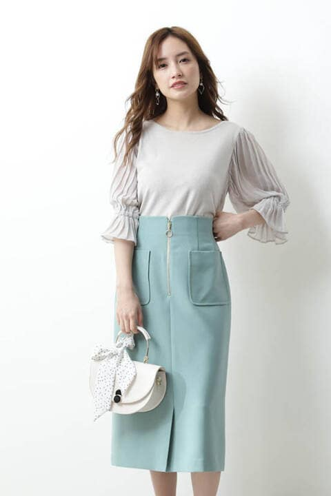 【ブルー:WEB限定カラー】フロントファスナースカート【低身長サイズ展開あり】
