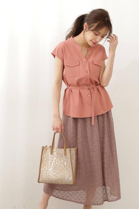 【先行予約5月上旬-5月中旬入荷予定】《EDIT COLOGNE》シャーリングギャザースカート