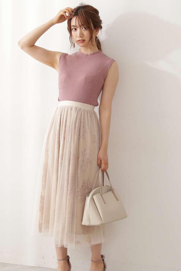 《EDIT COLOGNE》ラッセルチュールスカート 【低身長サイズ展開あり】