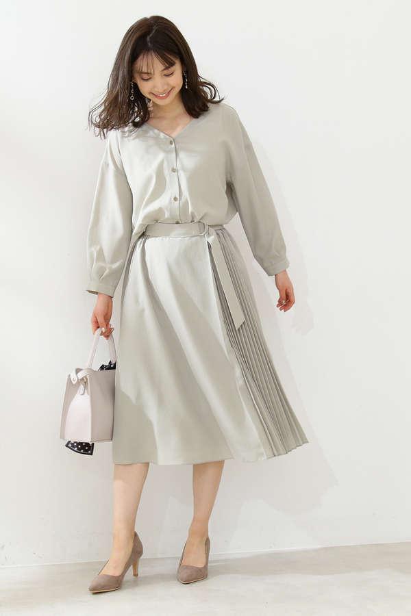 《田中みな実さん着用》サイドプリーツシャツワンピース
