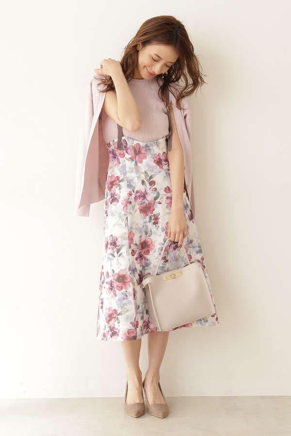 アクワレルフラワージャンパースカート