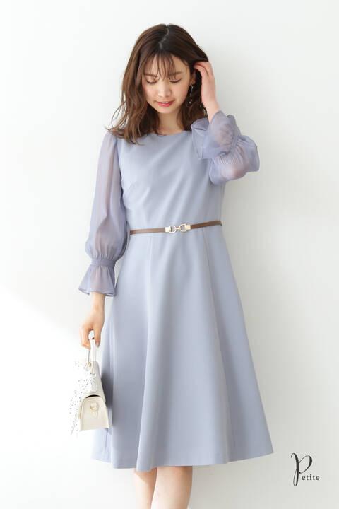 シアースリーブフレアワンピース【低身長サイズ展開あり】