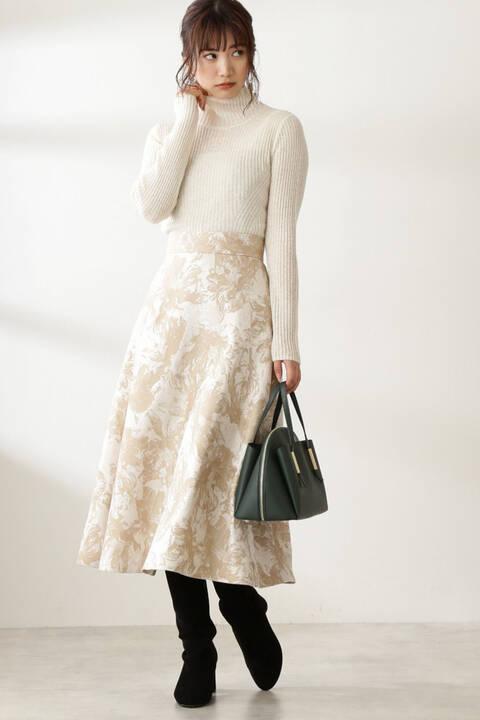 【先行予約11月中旬-11月下旬入荷予定】ジャガードフレアスカート