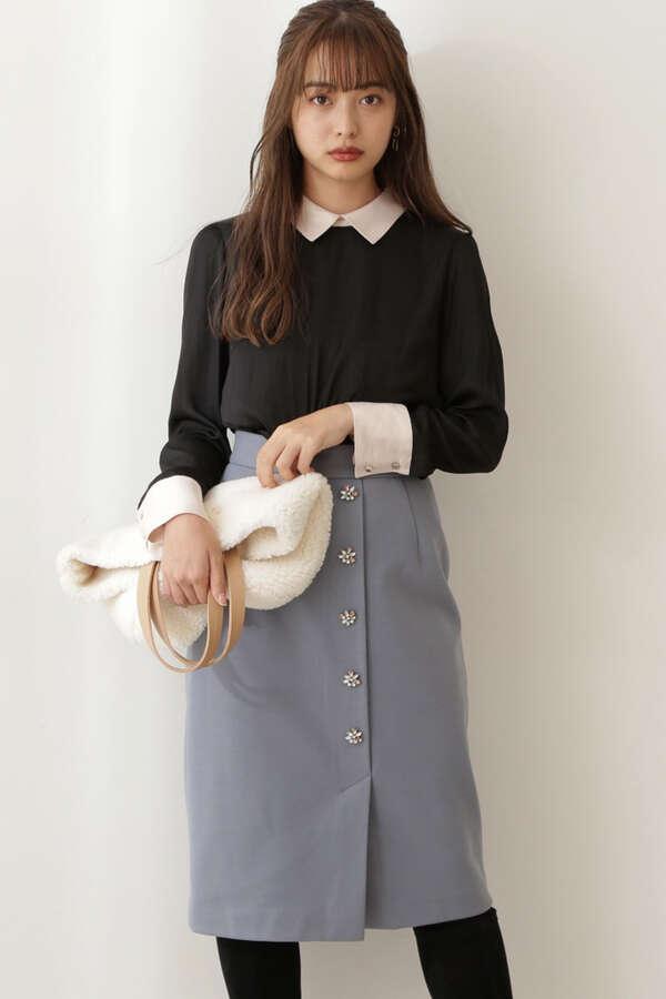 《堀田茜さん着用 美人百花11月号掲載商品》ビジュータイトスカート