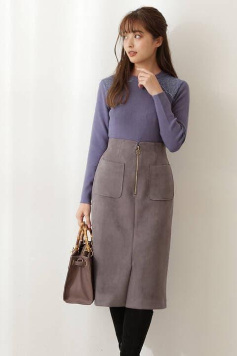 【先行予約11月中旬-11月下旬入荷予定】フェイクスエードタイトスカート