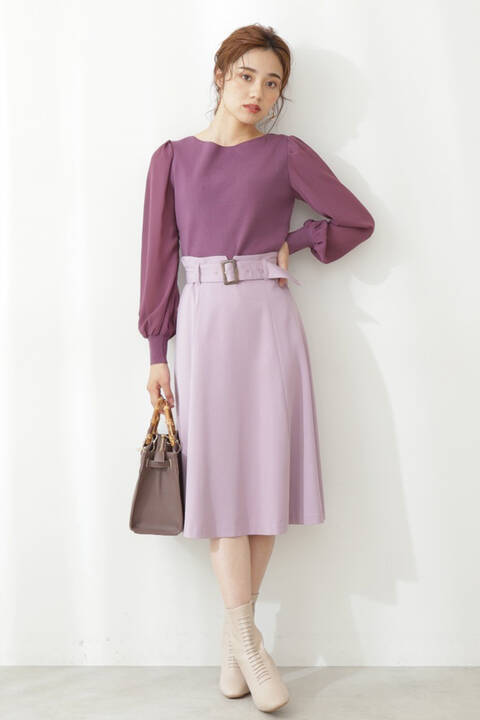 ベルト付きカラーツイルフレアスカート