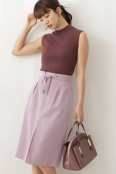 【先行予約6月中旬-6月下旬入荷予定】ウエストリボンカラーツイルタイトスカート