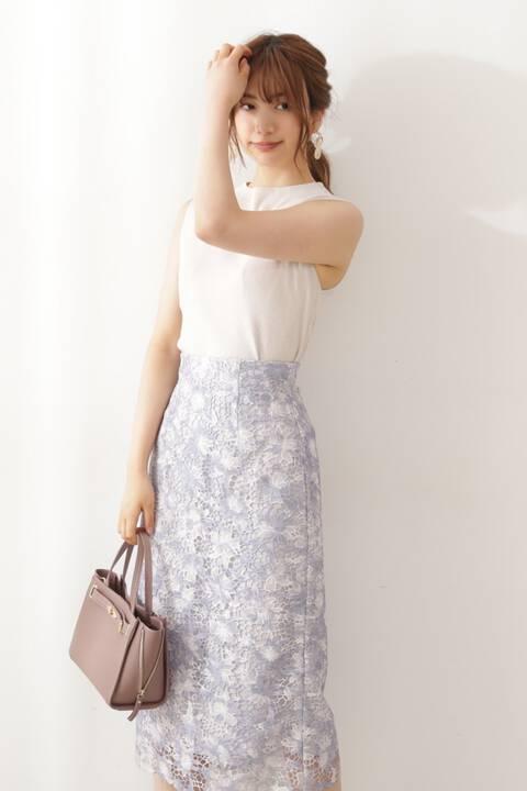 【先行予約8月上旬-8月中旬入荷予定】フラワーレースタイトスカート【低身長サイズ展開あり】