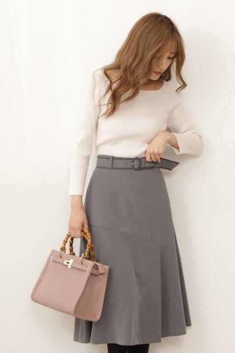 【先行予約10月上旬-10月中旬入荷予定】ベルト付切替フレアスカート